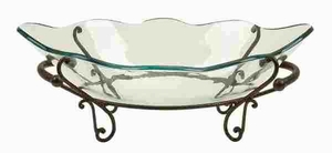 GLASS BOWL METAL STAND IN ANTIQUE BLACK FINISH - 72292 by Benzara
