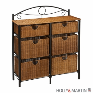 Traditional Holly & Martin Lillian Iron/Wicker Storage Chest by Southern Enterprises