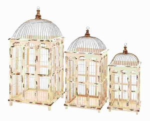 Traditional Metal Bird Cage Bright White Finish (Set of 3) Brand Woodland