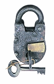 Traditional Metal Brass Lock and Keys with Antique Rust Finish Brand Benzara