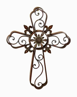 Traditional Metal Cross Crafted with Intricate Floral Detailing Brand Woodland