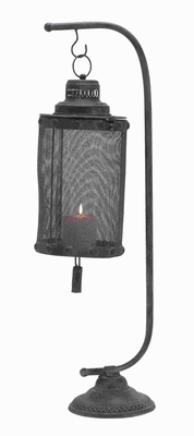 Traditional Metal Lantern with Rust Colored Distressed Finish Brand Woodland
