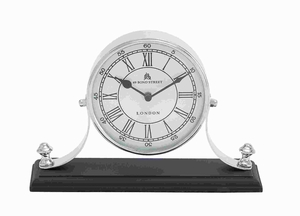 Traditional Metal Nickel Plated Table Clock with Classic Design Brand Woodland