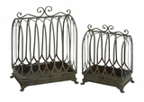 Traditional Metal Planter with Minimal Detailing - Set of 2 Brand Woodland