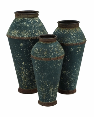 Traditional Metal Vase with Mottled Finish - Set of 3 Brand Woodland