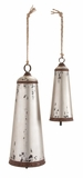 "Traditional Set Of 2 Metal Bells In Silver w/ Jute Rope Design S/2 48"", 34""H by Woodland Import"