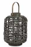 Traditional Style Rattan Lantern in Gray White Wash Color