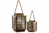 Traditional Style Wooden Hanging Lanterns Set of Two