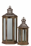 Traditional Style Wooden & Metal Lantern w/ Slanting Roof Set of Two Brown