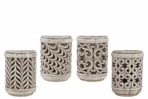 Traditional Themed Cement Wall Candle Holder Set of Four w/ Unique Design
