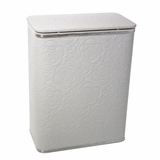 Traditional Times Jumbo Quilted Rose Pattern Vinyl Hamper in White/Silver by Redmon