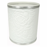 Traditional Times Quilted Rose Pattern Round Vinyl Wastebasket in White/Silver by Redmon