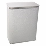 Traditional Times Quilted Rose Pattern Vinyl Hamper in White/Silver by Redmon