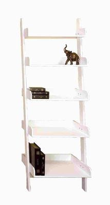 Traditional Wood Leaning Shelf with Artistic Design in White Brand Woodland