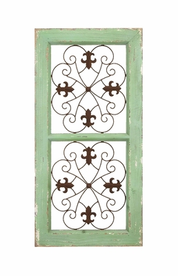 Traditional Wooden and Metal Wall Panel with Rusty Look Brand Woodland