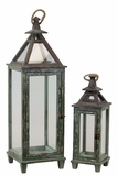Traditional Wooden Lantern Green Set of Two w/ Ethnic Design