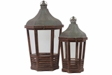 Traditional Wooden Lantern Set of Two w/ Persian Style Roof
