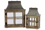 Traditional Wooden / Metal Lantern Set of Two
