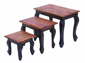 Traditional Wooden Nested Table with Modern Style - Set of 3 Brand Woodland