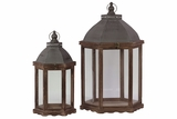 Traditonal Wooden Lantern Set of Two w/ Oval Shaped Lid & Large Glass Panes