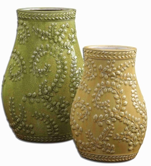 Trailing Leaves Style Flower Vase In Crackled Yellow and Green Ceramic Brand Uttermost
