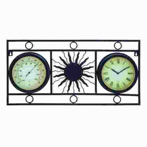 Transitional Metal Clock Thermometer with Attractive Print Brand Woodland