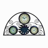 Transitional Metal Clock Thermometer with Distinctive Pattern Brand Woodland