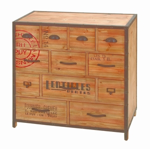 Traveler Chest With 12 Drawers of Various Sizes - Made From Alder Wood Brand Woodland