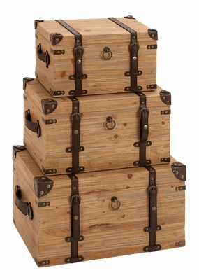 Traveler Trunks - Beach Wood Traveler Trunks  Set of 3 Brand Woodland