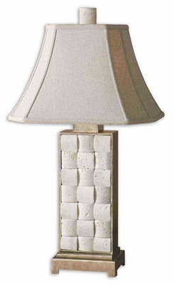 Travertine Table Lamp with Champagne Highlights Brand Uttermost