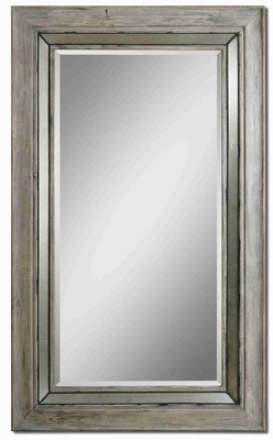 Travon Bleached Wood Wall Mirror with Burnished Metal Rope Details Brand Uttermost