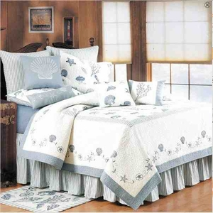 Treasures By Sea Blue Coastal Nautical Quilt Twin  Bedding Ensembles Brand C&F