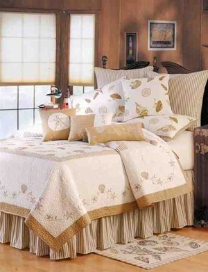 Treasures By Sea Taup Coastal Nautical Quilt King  Bedding Ensembles Brand C&F