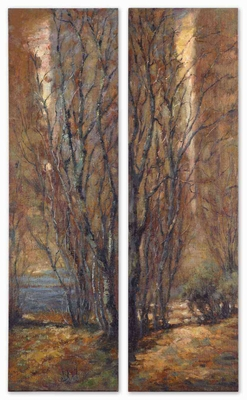 Tree Art Panels in Natural Earth Colors Set of 2 Brand Uttermost