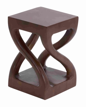 "Trembesi Square Shaped Armless and Backless 18"" Wooden Stool Brand Woodland"
