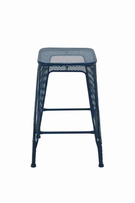 Trendy and Compact Blue Metal Stool Brand Benzara