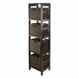 Winsome Wood Trendy and Elegant Granville 5pc Storage Tower Entertainment Shelf with 4 Baskets