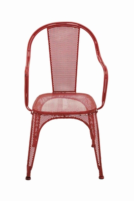 Trendy and Unique Net Themed Red Metal Chair Brand Benzara