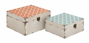 Trendy and Vintage Styled Square Shaped Set of Two Boxes by Woodland Import