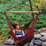 Trendy Looking Hanging Caribbean Rope Chair by Alogma
