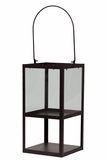 Trendy & Modish Metallic Glass Lantern in Brown w/ Handle Large