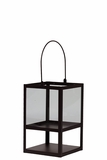 Trendy & Modish Metallic Glass Lantern in Brown w/ Handle Small