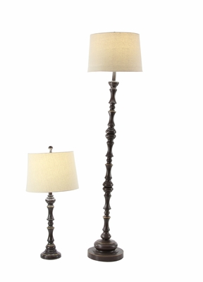 Trendy Resin Lamps, Black, Set Of 2 - 78481 by Benzara