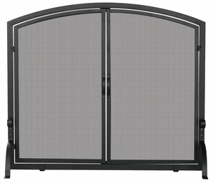 Trendy Single Panel Black Wrought Iron Screen With Doors- Large