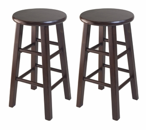 """Trendy Two Wooden Counter 24"""" Stools with Square of Legs by Winsome Woods"""
