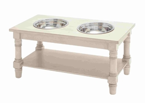 Trendy Wooden Pet Feeder with Steel Bowls Brand Benzara