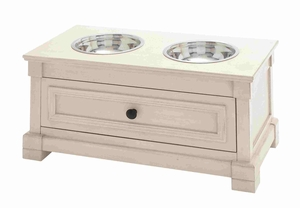 Trendy Wooden Pet Feeder with Steeled Bowls and Drawer Brand Benzara