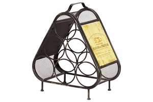 Triangular Metal Wine Holder w/ a Capacity of Six Bottles