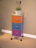 Tricolored Steel Moveable Three Drawer Chest by 4D Concepts