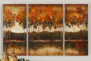 Trilakes I, II, III Set/3 Wall Art, Abstract Wall Art on Canvas Brand Uttermost